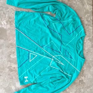 Teal Under Armour Cropped HEATGEAR Sweater
